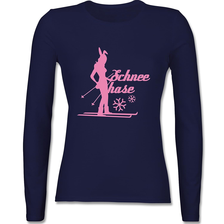 Après Ski - Ski Schneehase - tailliertes Longsleeve / langärmeliges T-Shirt für Damen