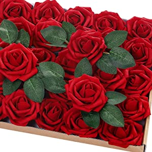 72Pcs Artificial Rose Flowers with Stem 20 Decorative Leaves, Real Looking Foam Fake Artificial Faux Flowers Roses for DIY Wedding Bouquets Centerpieces Party Home Decor (Dark Red)