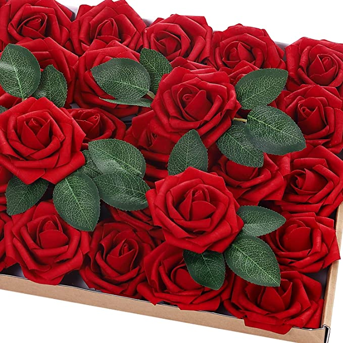 MOKARO Artificial Flowers 30pcs Foam Rose for Christmas Decorations Real Looking Fake Roses with Stems for DIY Bouquets Wedding Arrangements Centerpieces Party Home Decor with Colorful Ribbon