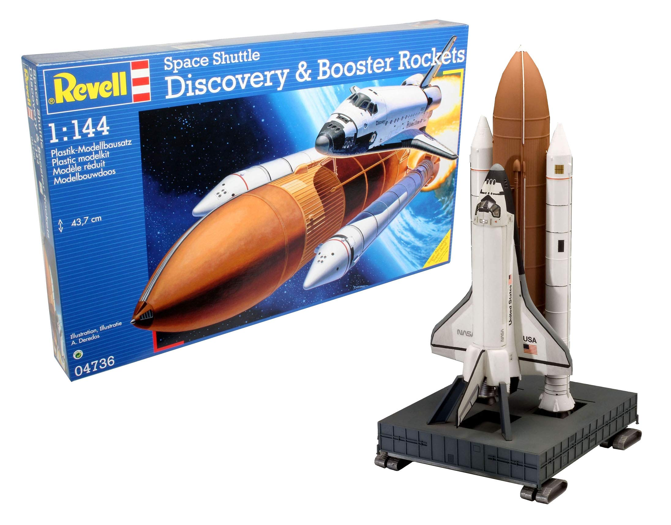 Space Shuttle Discovery & Booster Rocket 1:144 scale model
