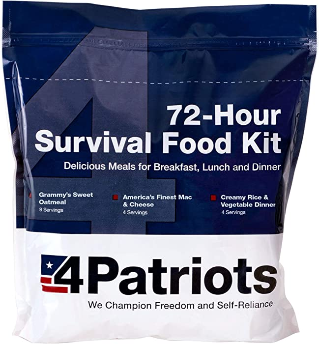 4Patriots Emergency Food Supply - 72-Hour Survival Kit - Freeze Dried Food - 25-Year Shelf Life - 16 Servings