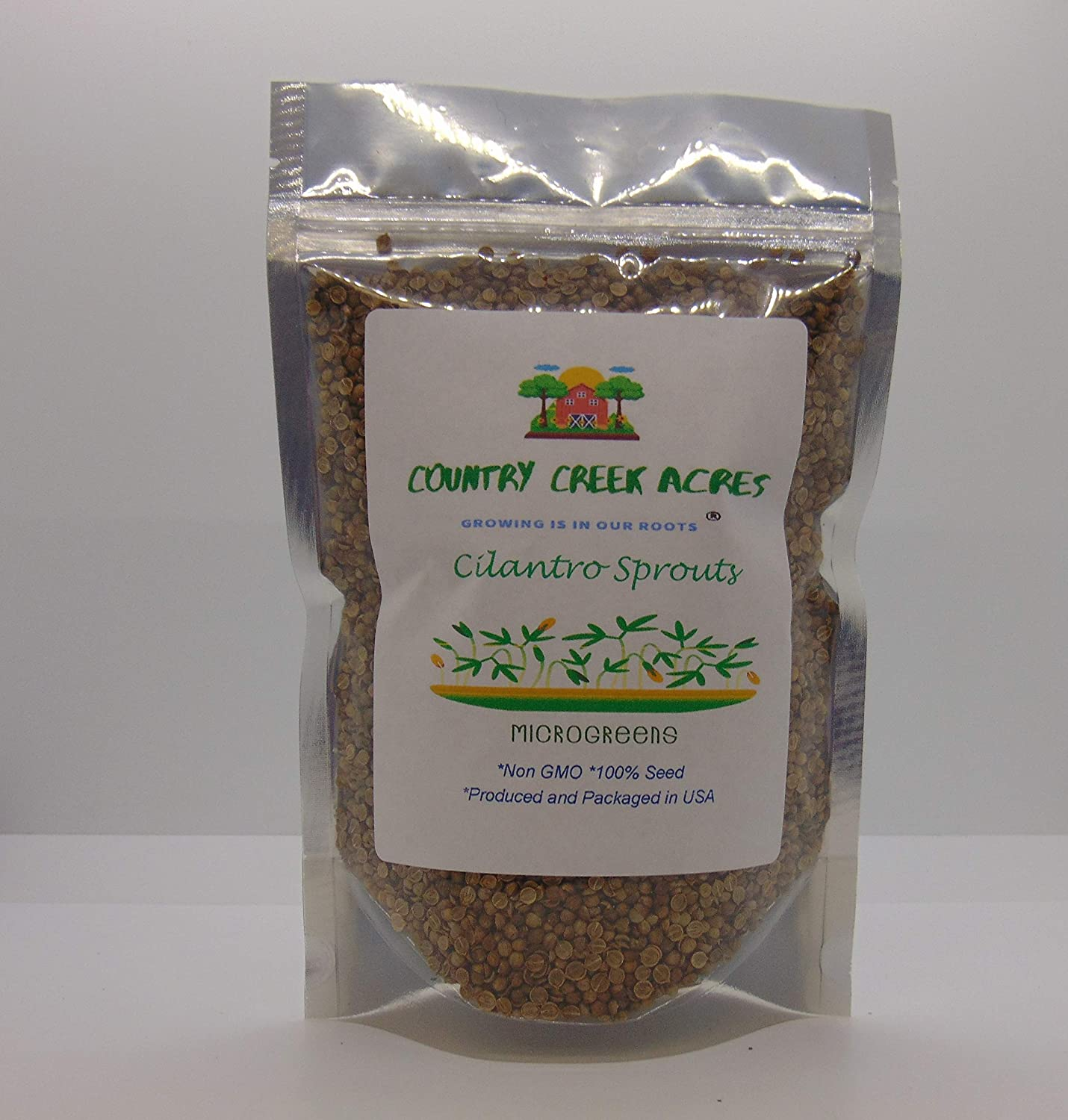 Cilantro Seed, Sprouting Seeds, Microgreen, Sprouting, 8 OZ, Non GMO - Country Creek Acres Brand - High Sprout Germination- Juicing, Gardening, Hydroponics, Growing Salad Sprouts