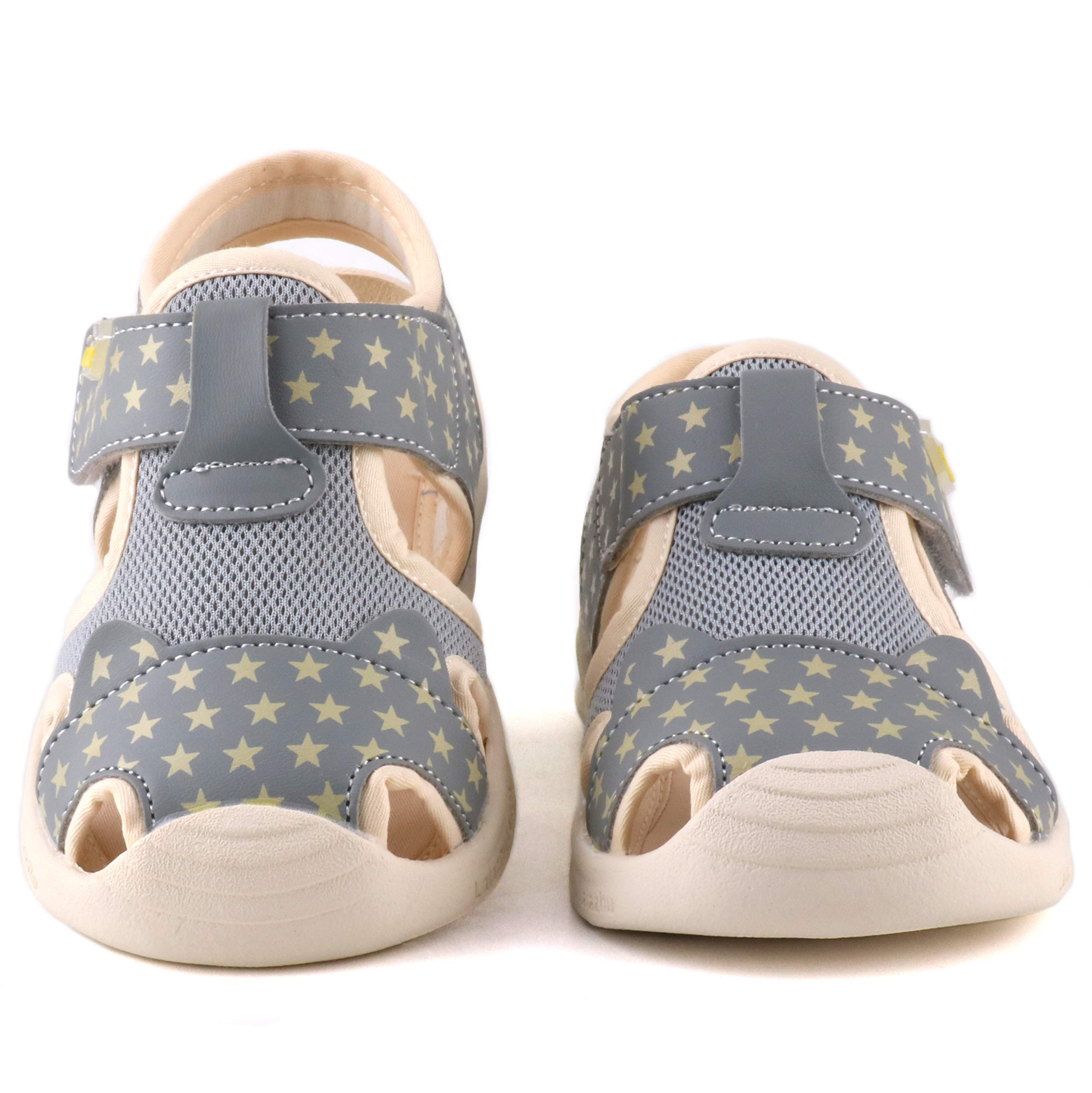 Moceen Kids Soft Microfiber Leather Sandals Light-Up Toddler Boys/Girls Closed Toe Pre School Shoes,Grey,8102 115 by Moceen (Image #7)