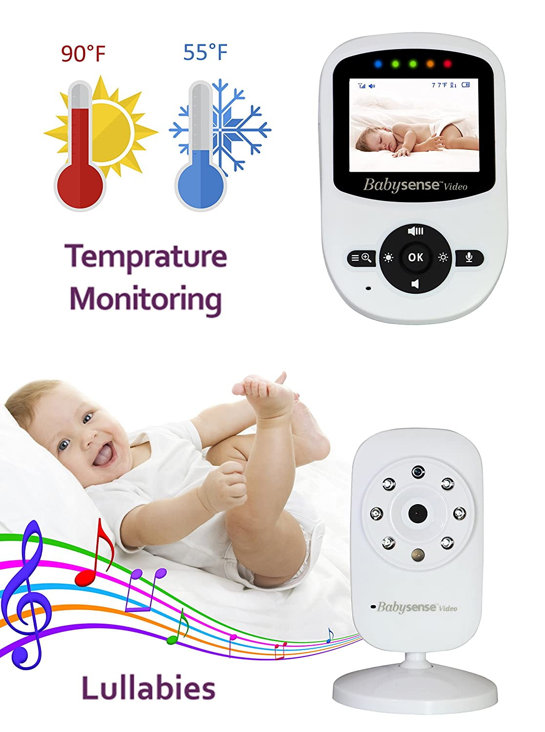 Amazon Com New Model Babysense Video Baby Movement Monitor Bundle Pack Babysense Video Baby Monitor With Babysense 7 Under The Mattress Baby