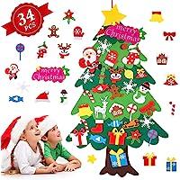 Árbol de Navidad de Fieltro, Árbol Navidad Fieltro Pared con 34 Ornamentos Desmontables El árbol de Navidad de 3.7ft…