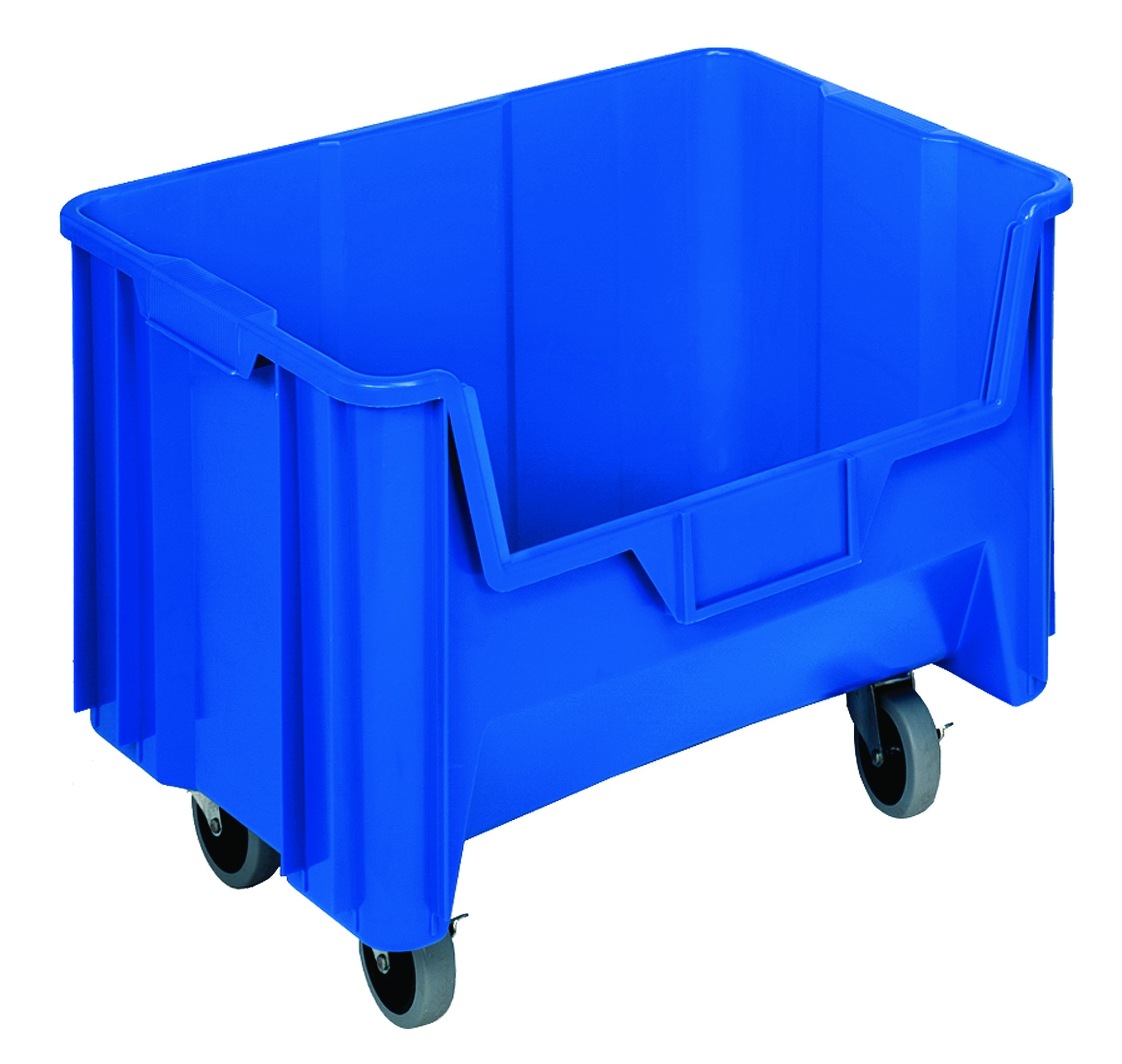 Quantum Storage Systems QGH705MOBBL Mobile Multi-Purpose Giant Stacking Open Hopper Container with Swivel Casters, 15-1/4'' x 19-7/8'' x 12-7/16'', Blue (Pack of 3)