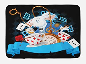 Ambesonne Alice in Wonderland Bath Mat, Rabbit Motion Cups Hearts and Flower Character Alice Cartoon Style, Plush Bathroom Decor Mat with Non Slip Backing, 29.5
