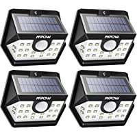 Mpow Solar Lights Outdoor 20 LED Motion Sensor Lights with Wide Angle Lighting IP65 Waterproof Wireless Security Lights for Garage Front Door Garden Pathway - 4 Pack (Auto On/Off)
