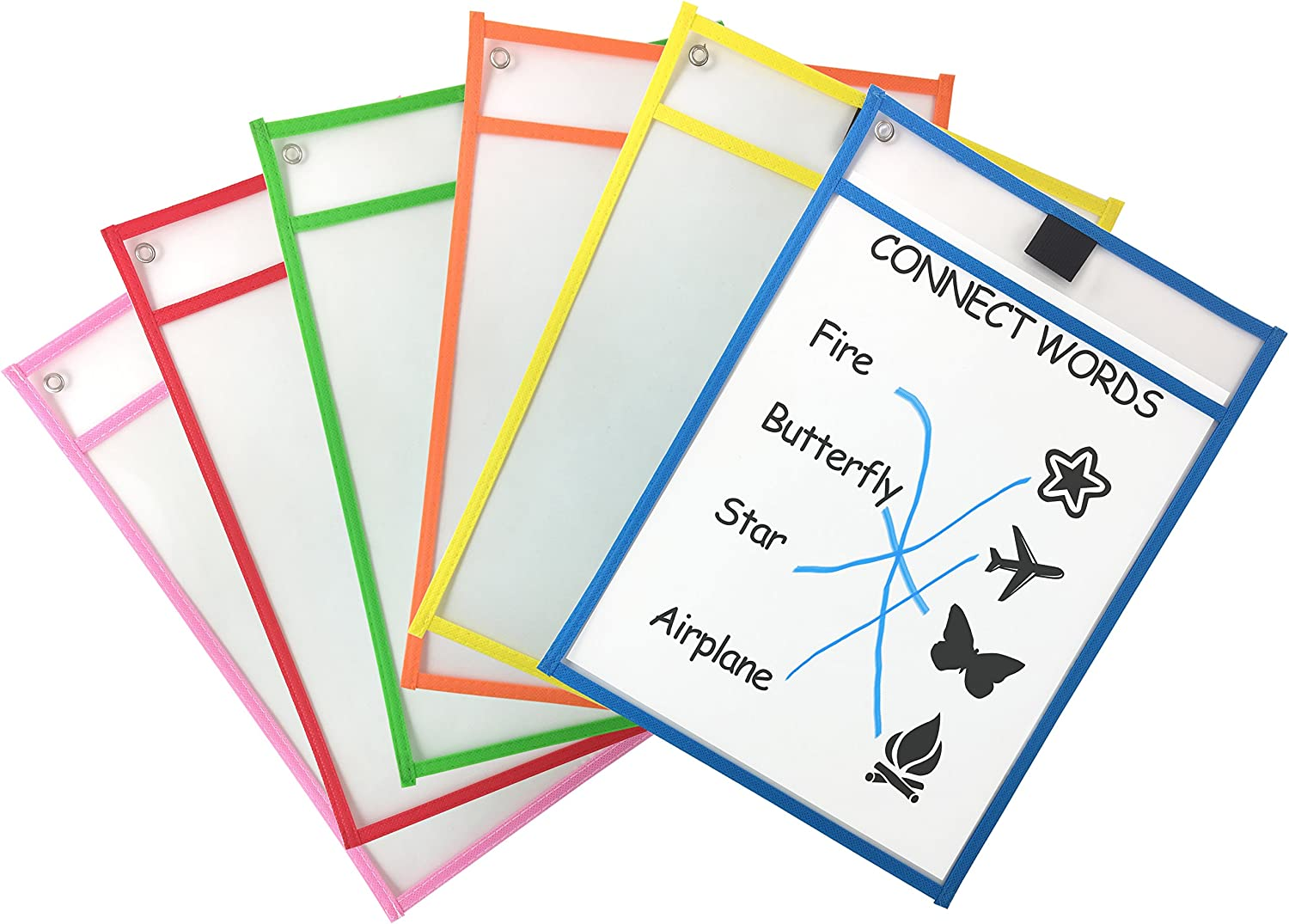 Clipco Dry Erase Pocket Sleeves Assorted Colors (6-Pack) : Office Products