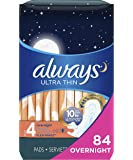 Always Ultra Thin Feminine Pads with Wings for Women, Size 4, Overnight Absorbency, Unscented, 28 count - Pack of 3 (84…