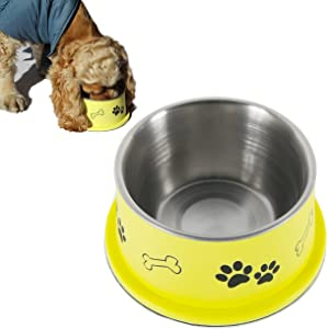 PETISH Spaniel Bowl for Long Ear Dog - Ergonomic Personalized Custom Design Bowls, NO Tip Stainless Dish