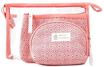 85d21623b280 Amazon.com   Zhoma 3 Piece Cosmetic Bag Set - Makeup Bags And Travel Case -  Red   Beauty