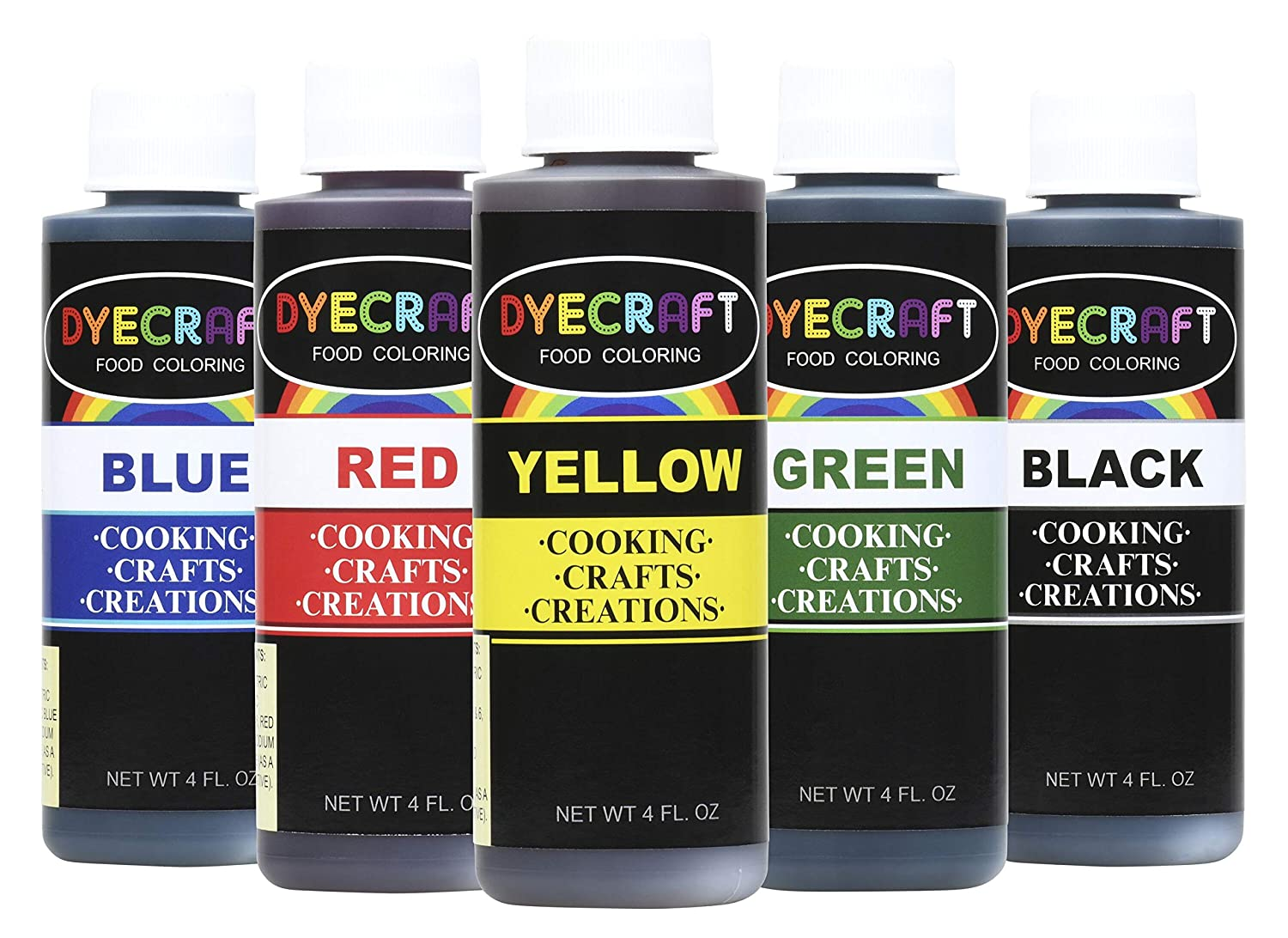 DyeCraft Food Coloring Multi-Pack (Green, Yellow, Blue, Red, Black) LARGE 4oz BOTTLES- Odorless, Tasteless, Edible- Perfect for Baking, Cooking, Arts & Crafts, Decorations and more