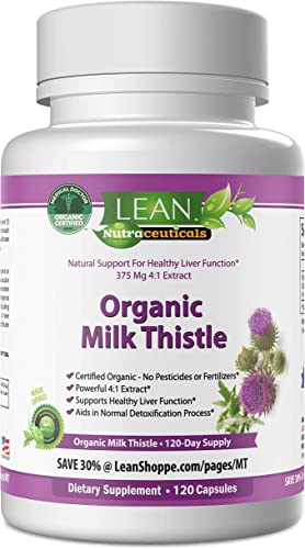 LEAN Nutraceuticals MD Certified Organic Milk Thistle Capsules 1500mg 4 to 1 Concentrated Extract Milk Thistle Supplement Silymarin Liver Cleanse