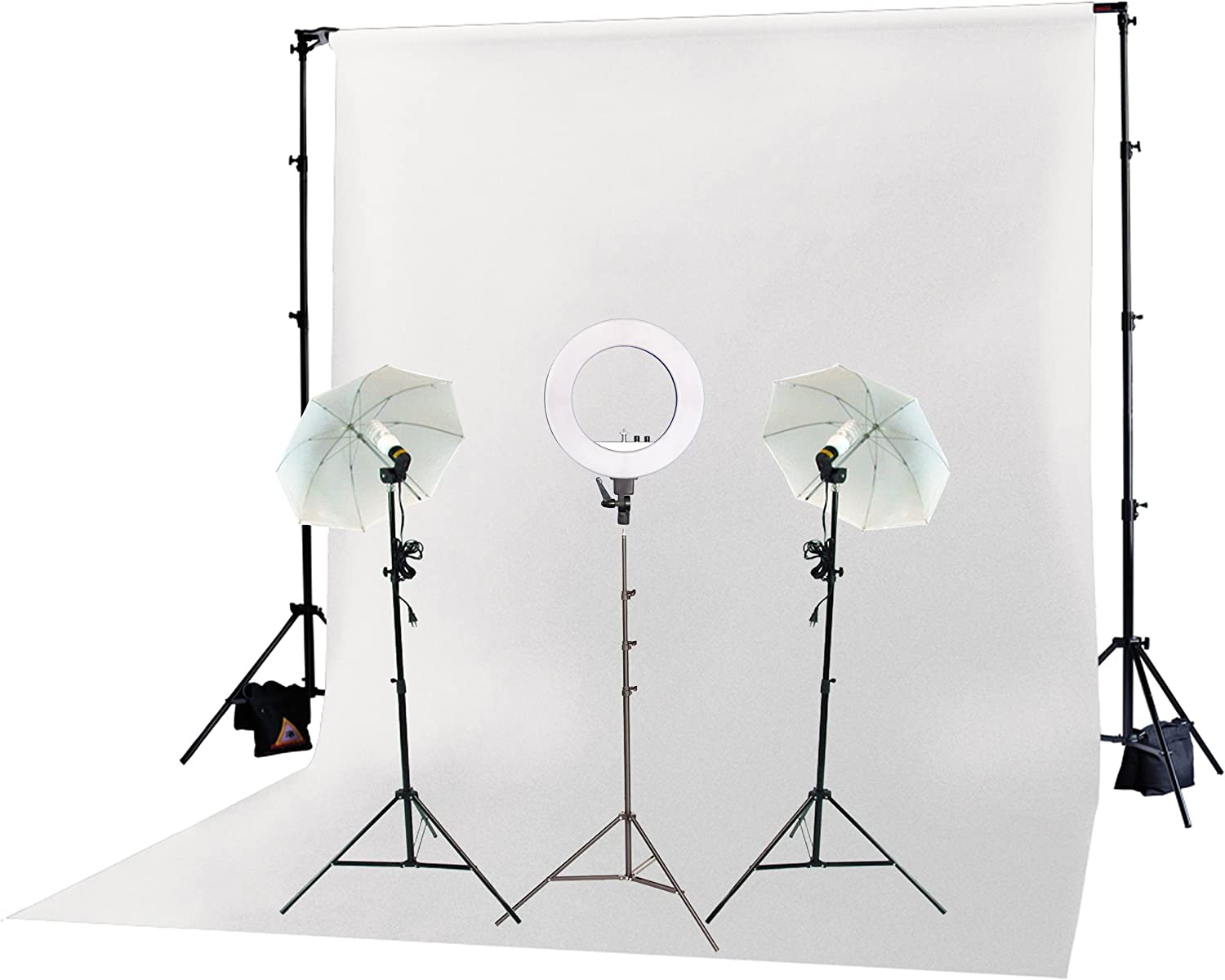 White Backdrop /& Stand Fodoto 3-Point Photo Video Continuous Umbrella Lighting Kit