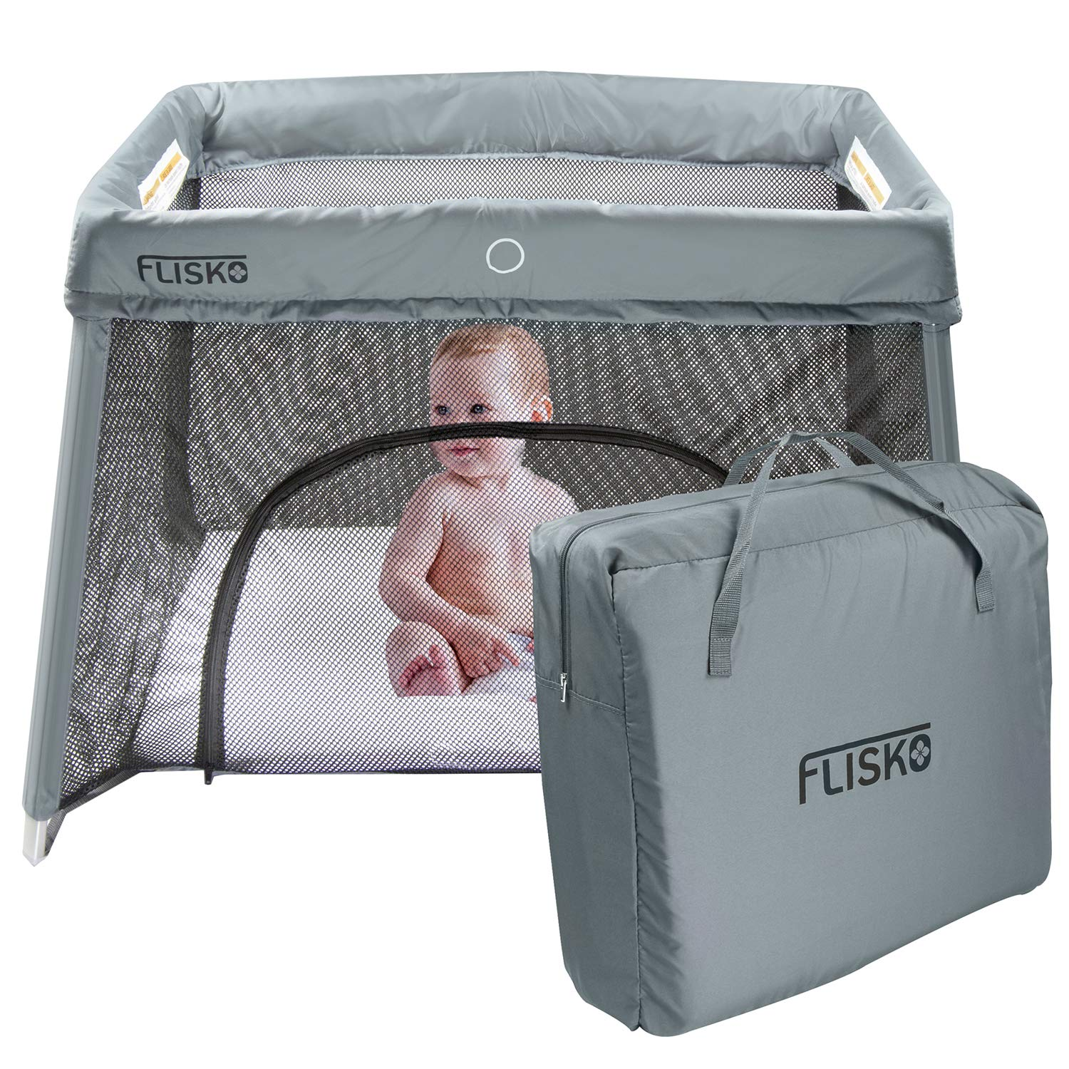 Flisko 2 in 1 Travel Crib Bassinet Lightweight, Pack Play-Yard for Infants Toddlers. Simple Assembly Easily Collapsible. Portable Crib, Baby Bed. Mattress Fitted Sheet Included