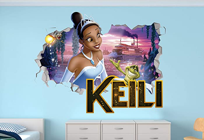 """The Princess and The Frog Custom Name 3D Personalized Wall Decal Sticker - Kids Wall Decor - Art Vinyl Wall Decal - MA353 (Small (Wide 22"""" x 12"""" Height))"""
