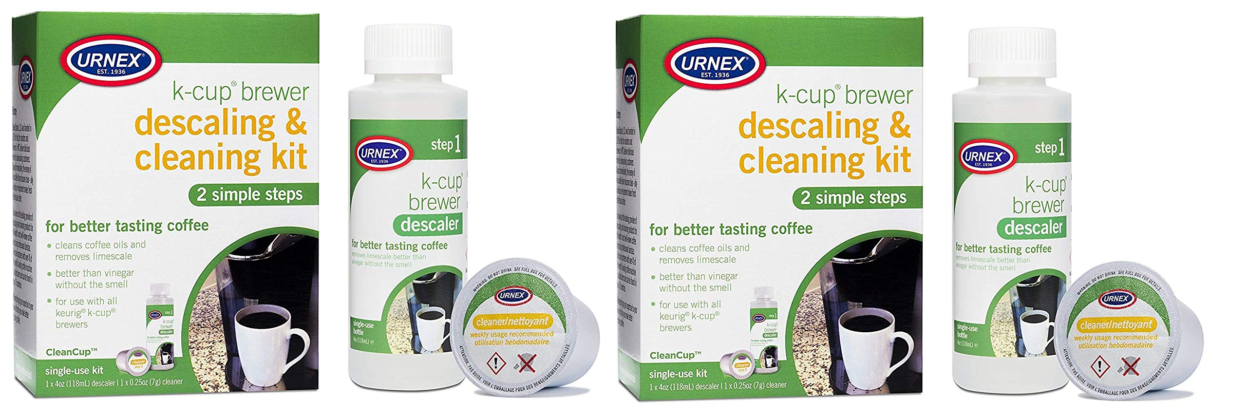 Urnex K-Cup Machine Descaler and Cleaner Kit - 2 Pack - Professional Coffee Machine Cleaner and Descaler Use With Keurig by Urnex (Image #1)