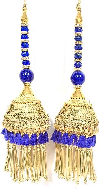 1 Pair latest Indian Yellow Tassel Latkan Sari Blouse Accessory Duppata Suit
