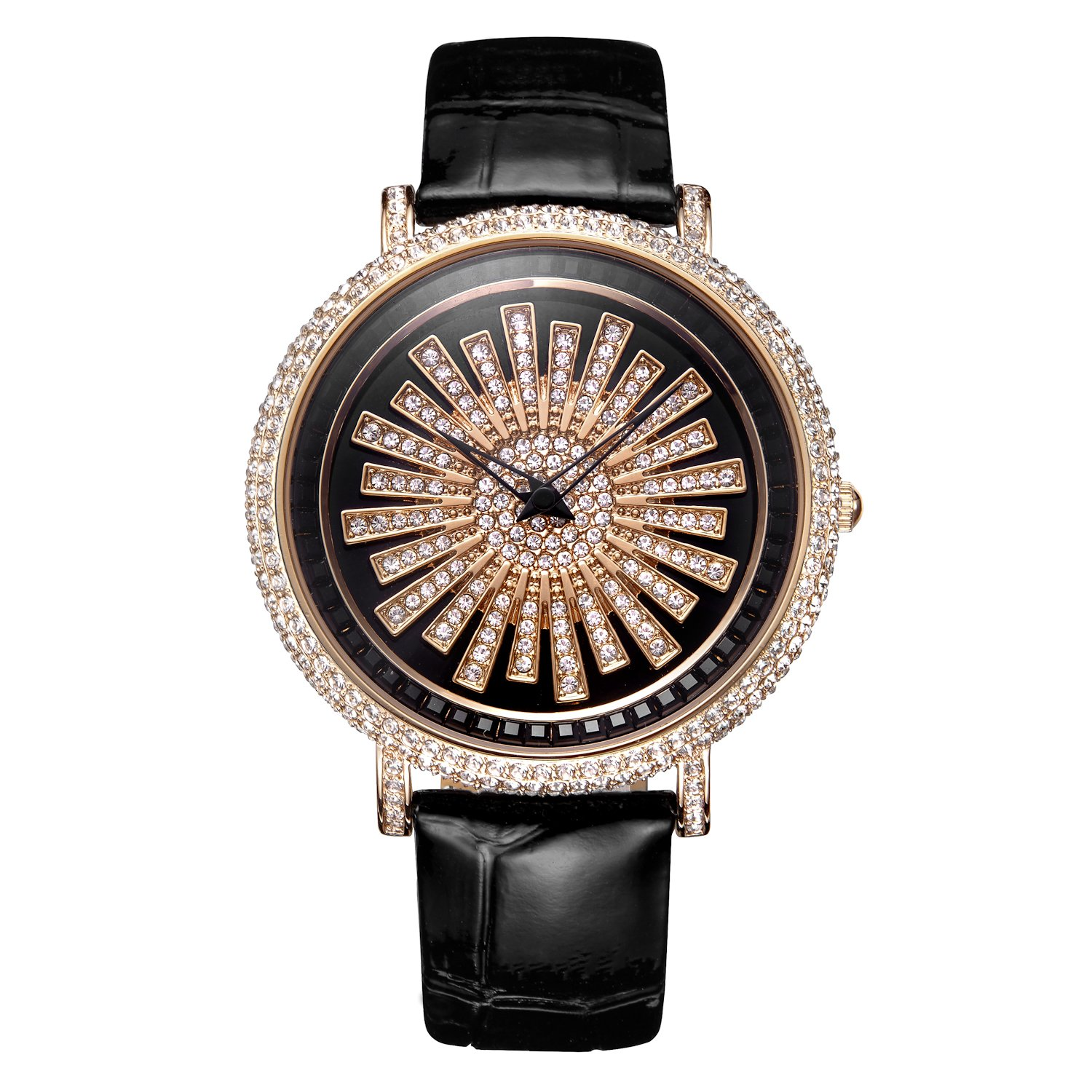 MATISSE Lady Austria Full Crystal Dial & Strap Business Fashion Quartz Wrist Watch (Rose gold and black leather strap)