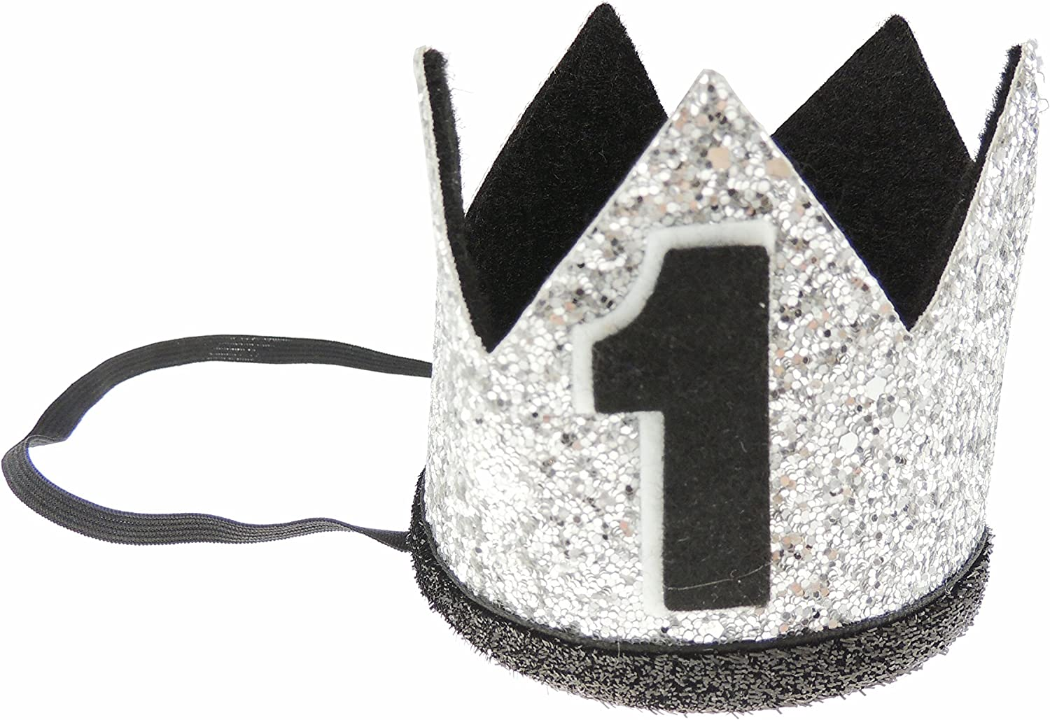 Adorable Baby Boys Girls Glitter 1st One Birthday Silver Gold Elasticated Crown Pink White One