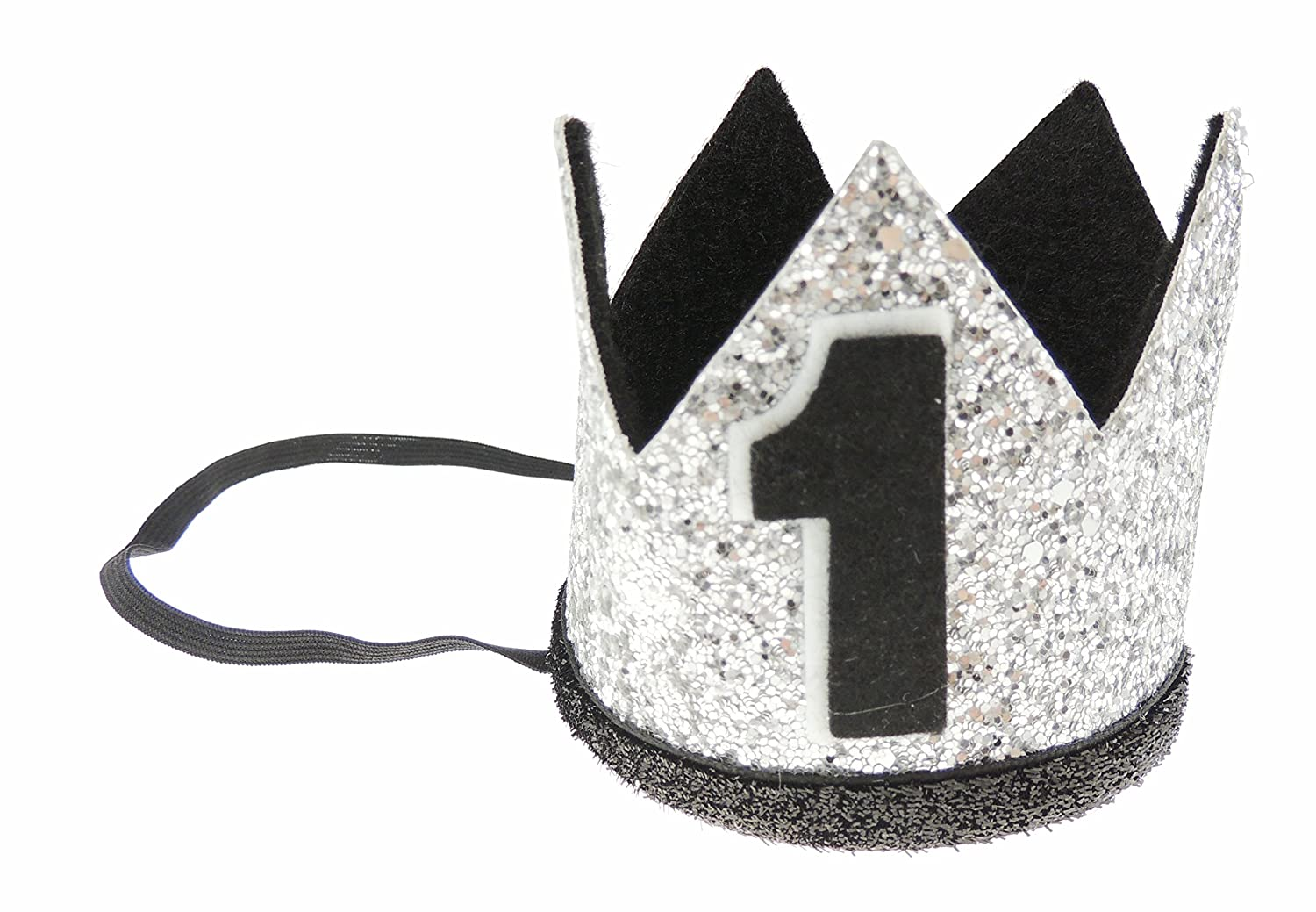 Adorable Baby Boys Girls Glitter 1st One Birthday Silver Gold Elasticated Crown Gold Black 1