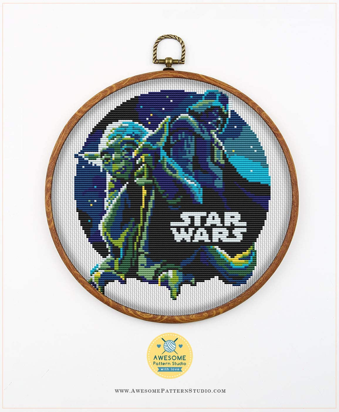 Threads Embroidery Pattern Kit Needles Star Wars K061 Counted Cross Stitch KIT#2 Fabrick and 4 Printed Color Schemes Inside