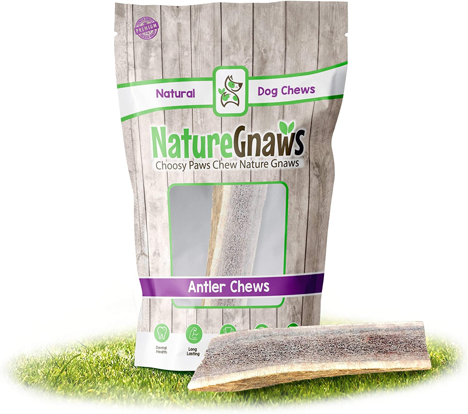Nature Gnaws Elk Antlers for Large Dogs - Premium Natural USA Antler Chews - Long Lasting Dog Bones for Aggressive Chewers - Mix of Split and Whole - 5-8 Inch