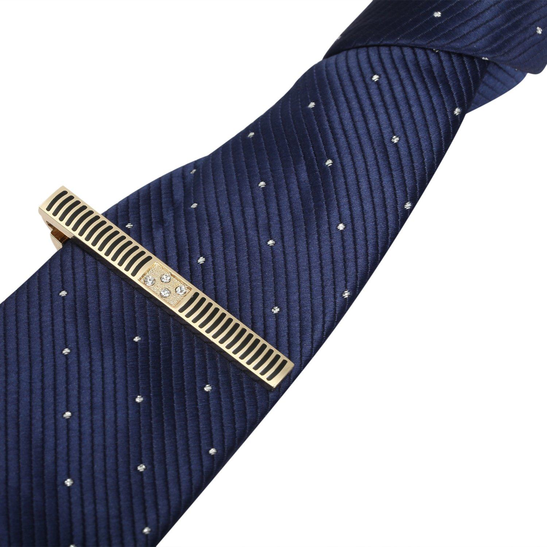 Mens Tie Clip Bar Pinch Set of 3 Elegant Designs Clips