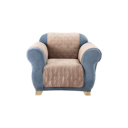 Sure Fit Quilted Pet Throw   Chair Slipcover   Taupe (SF37468)