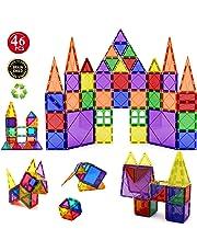 Children Hub 46pcs Magnetic Building Set - Construction Kit Educational STEM Toys For Your Kids (Stronger Magnets)