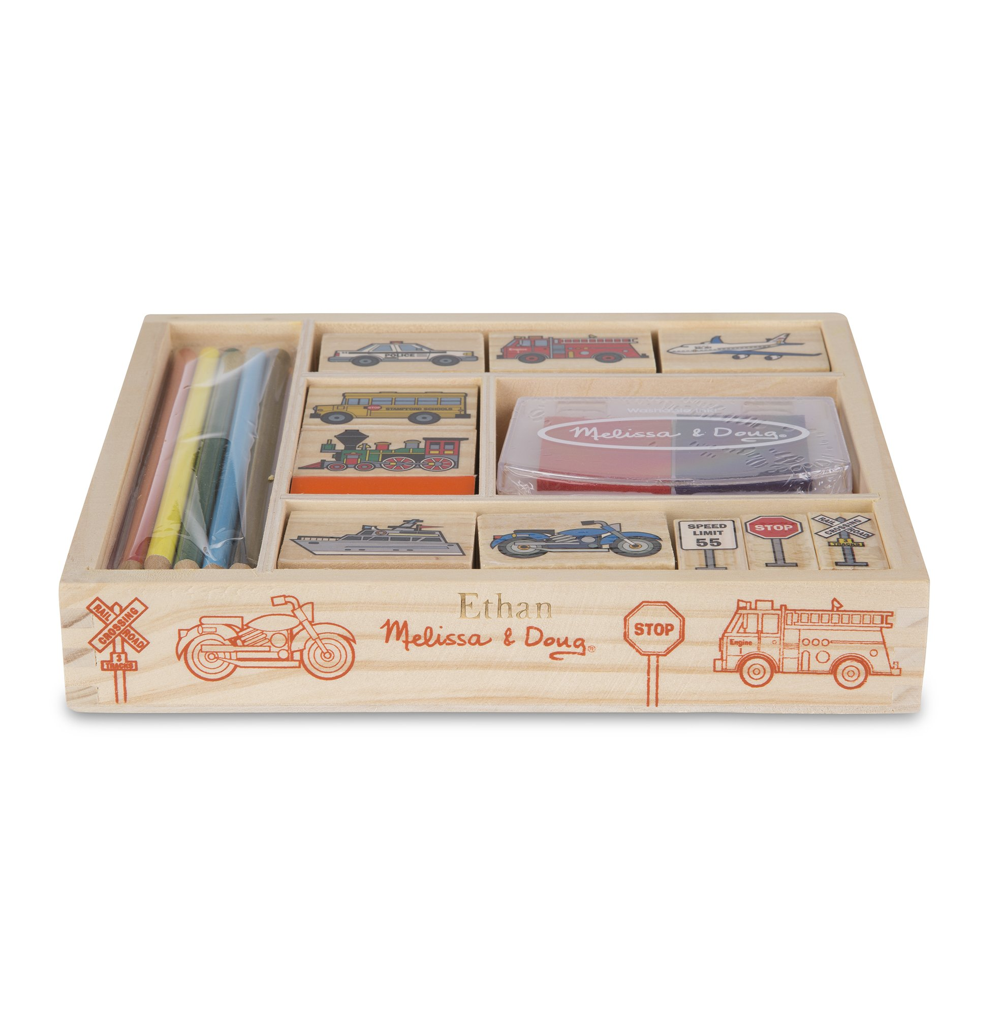 Melissa & Doug Personalized Vehicles 10 Stamps, 5 Pencils, 2-Color Wooden Pad