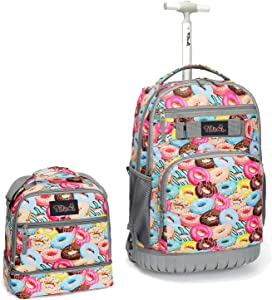 Tilami Rolling Backpack 19 inch with Lunch Bag Wheeled Laptop Backpack, Doughnut
