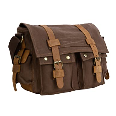df0ad112e30a Image Unavailable. Image not available for. Color  Mens Vintage Canvas  Leather Messenger Bag Satchel Military Shoulder School Bag