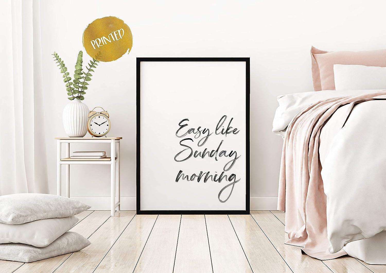 Arvier Easy Like Sunday Morning Print Bedroom Prints Bedroom Wall Art Bedroom Decor Typography Art Quote Print Wall Art Framed Wall Art