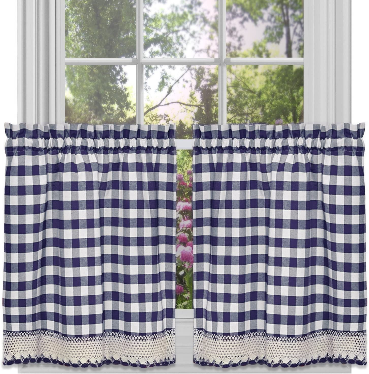 "Achim Home Furnishings Tier Pair Buffalo Check Window Curtain, 58"" x 36"", Navy & Ivory,BCTR36NY12"