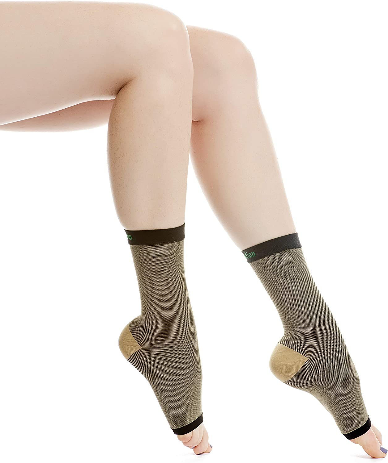 EvoMotion USA Made Copper Compression Ankle Sleeves Men and Women Foot Brace