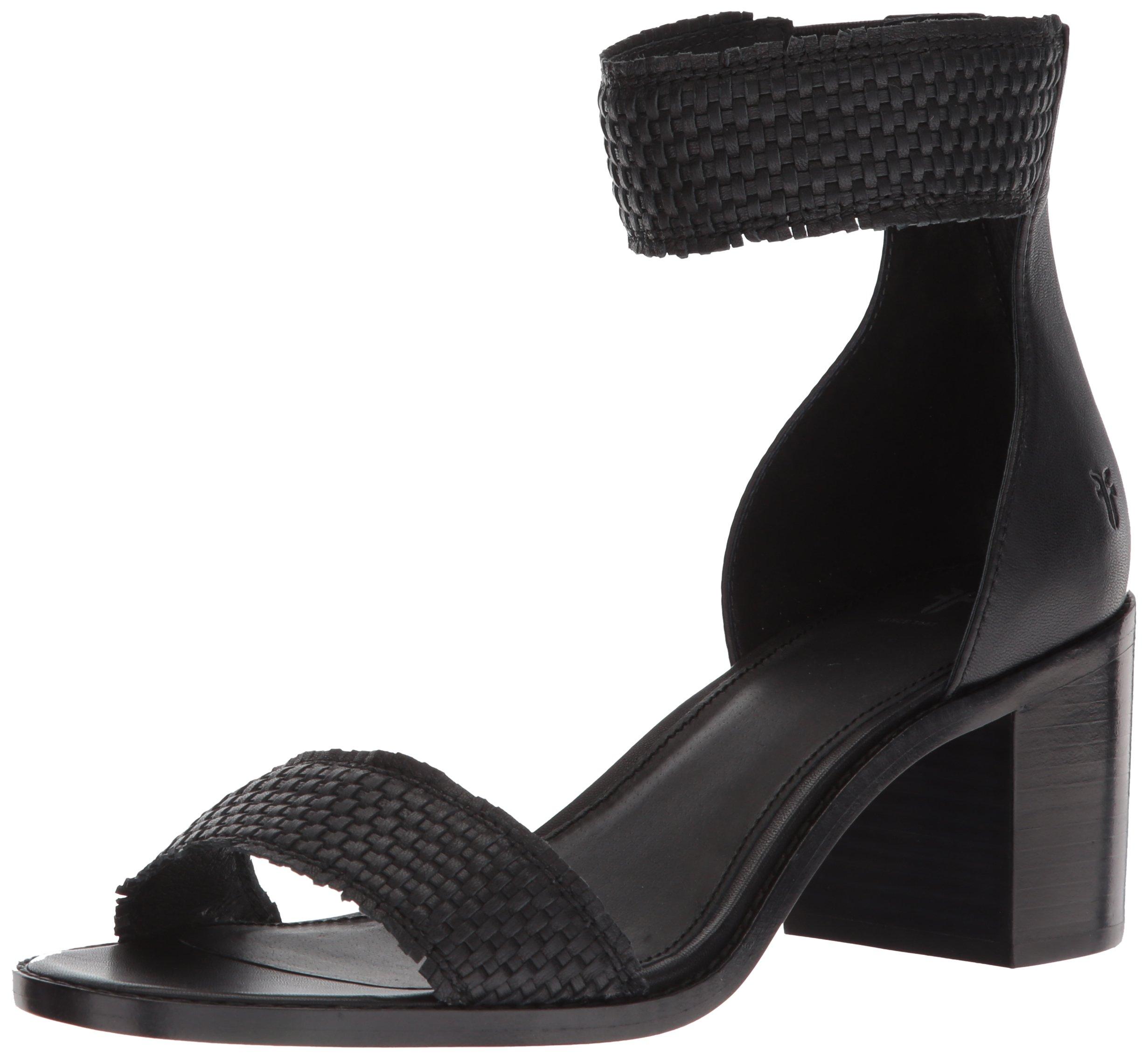 FRYE Women's Bianca Woven Back Zip Heeled Sandal, Black, 7.5 M US