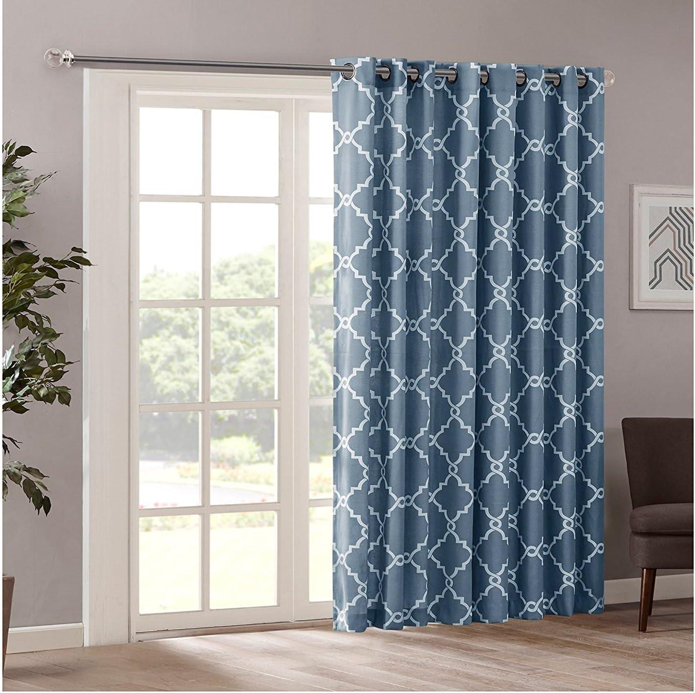 1Pieza 84 Azul Color geométrico cortina de puerta corredera ...