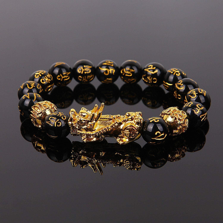 Amazon Com Panpob68 New Feng Shui Black Obsidian Beads Bracelet Attract Wealth Good Luck Bangle Gift Home Kitchen
