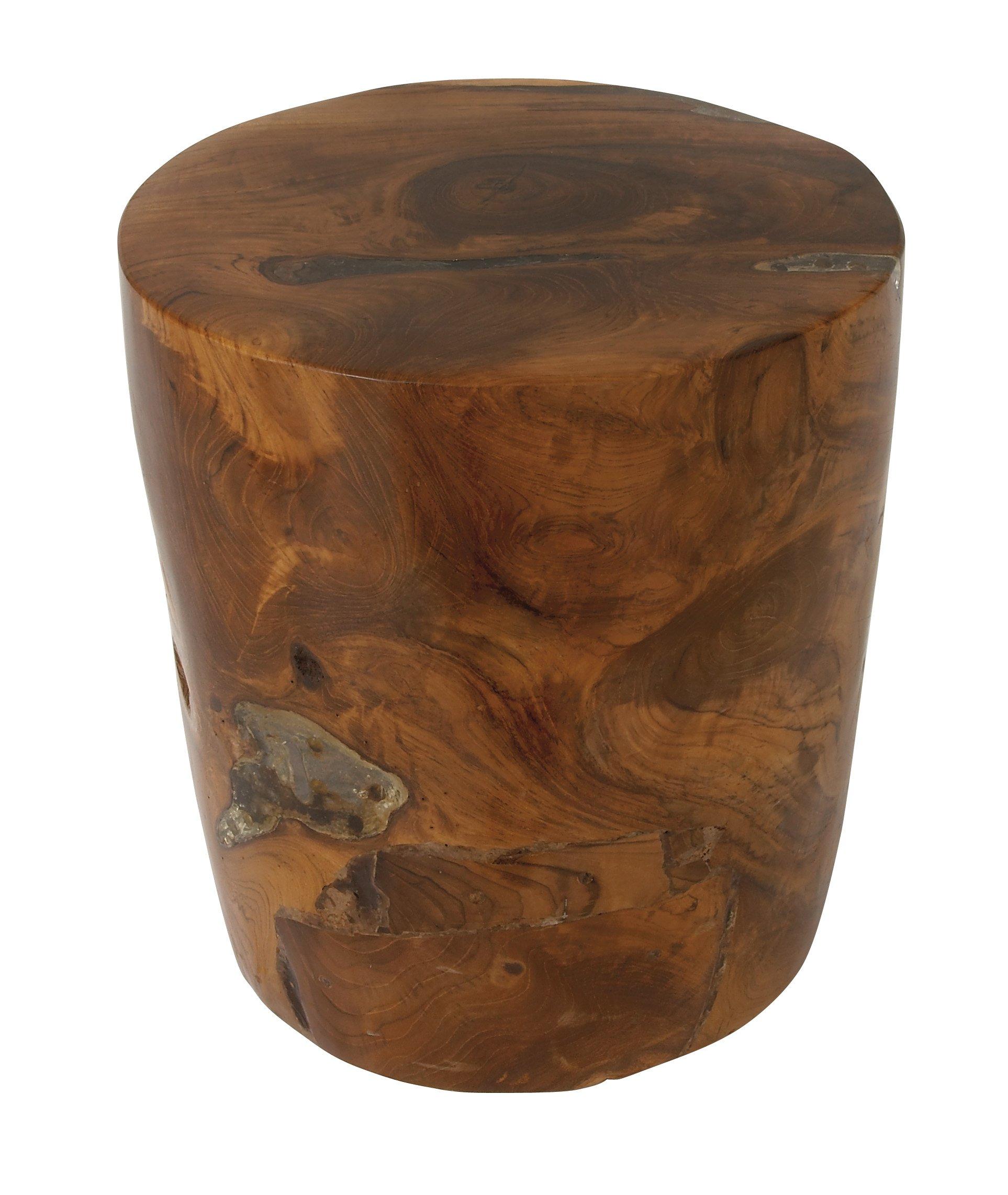 Deco 79 42015 Teak Wood Resin Stool, 14'' x 15''