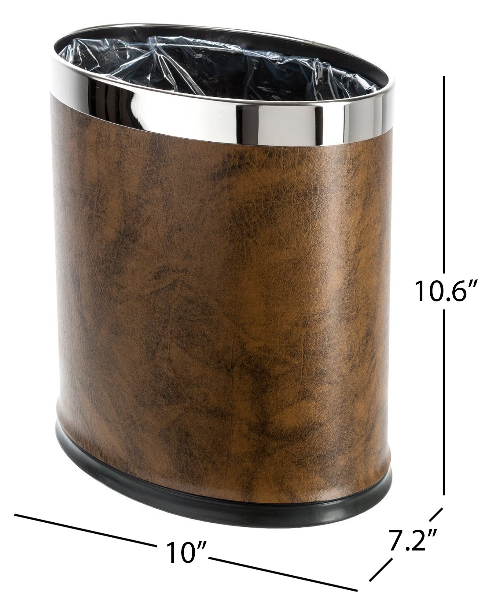 Brelso 'Invisi-Overlap' Open Top Leatherette Trash Can, Small Office Wastebasket, Modern Home Décor, Oval Shape (Brown)