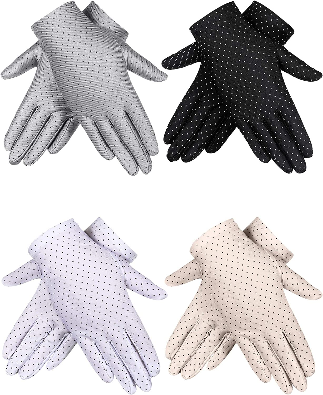 Tagaremuser 4 Pairs Women Sunblock Gloves UV Protection Gloves Non-slip Touchscreen Driving Gloves Spring Summer Outdoor Gloves for Women and Girls