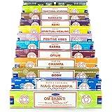 Satya Sai Baba – Set regalo da 12 scatole di incenso da 15 g, comprende le fragranze Nag Champa, Super Hit, Oodh, Positive Vibes, Namaste, Champa, Opium, Reiki, Spiritual Healing, Karma, Meditation, T