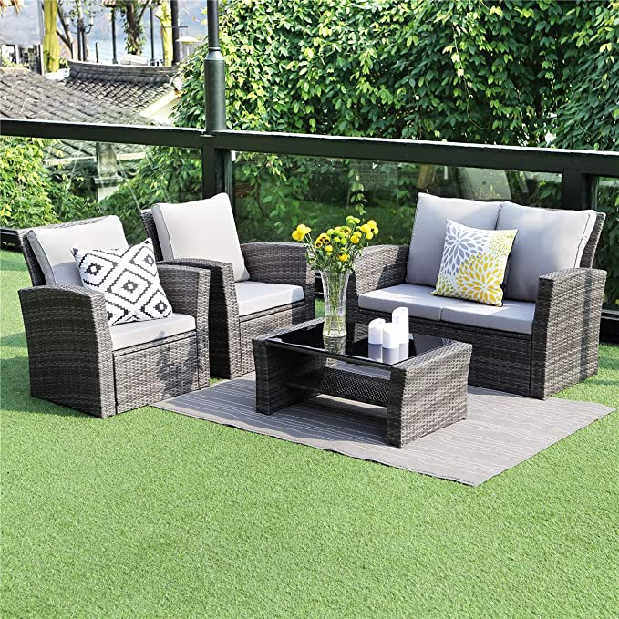 img buy Wisteria Lane 5 Piece Outdoor Patio Furniture Sets, Wicker Ratten Sectional Sofa with Seat Cushions,Gray