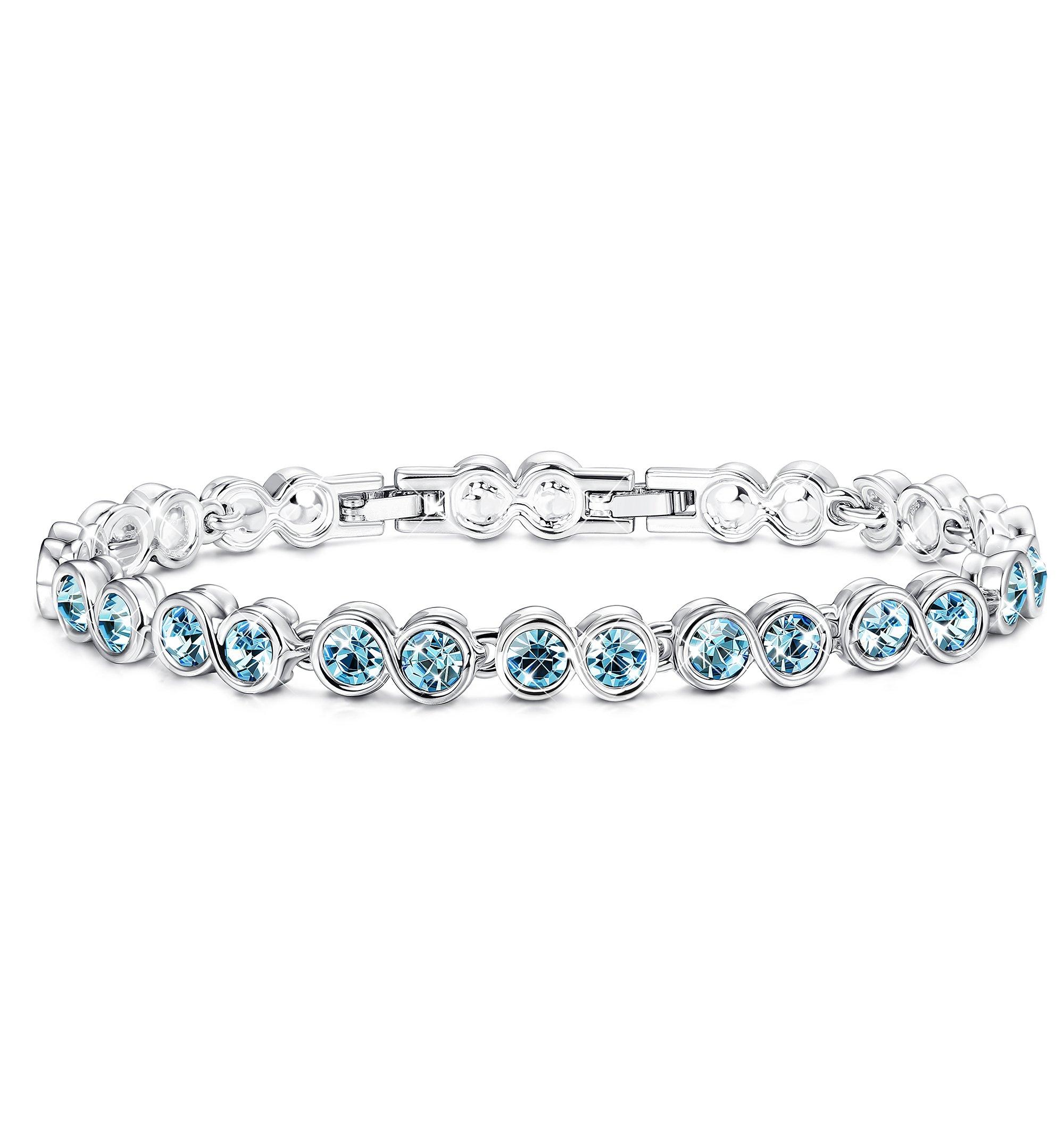 Sllaiss Swarovski Crystal Bracelet Blue Tennis Infinity Jewelry Women Gift Girlfriend(Blue Crystal Bracelet)