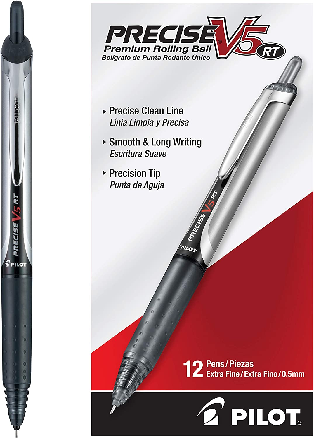 PILOT Precise V5 RT Refillable & Retractable Liquid Ink Rolling Ball Pens, Extra Fine Point, Black Ink, 12 Count (26062)