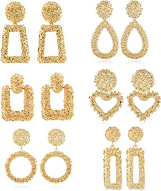 Gold Earrings Gold Geometric Statement Earrings Acrylic Earrings Large Earrings Gold Mirror