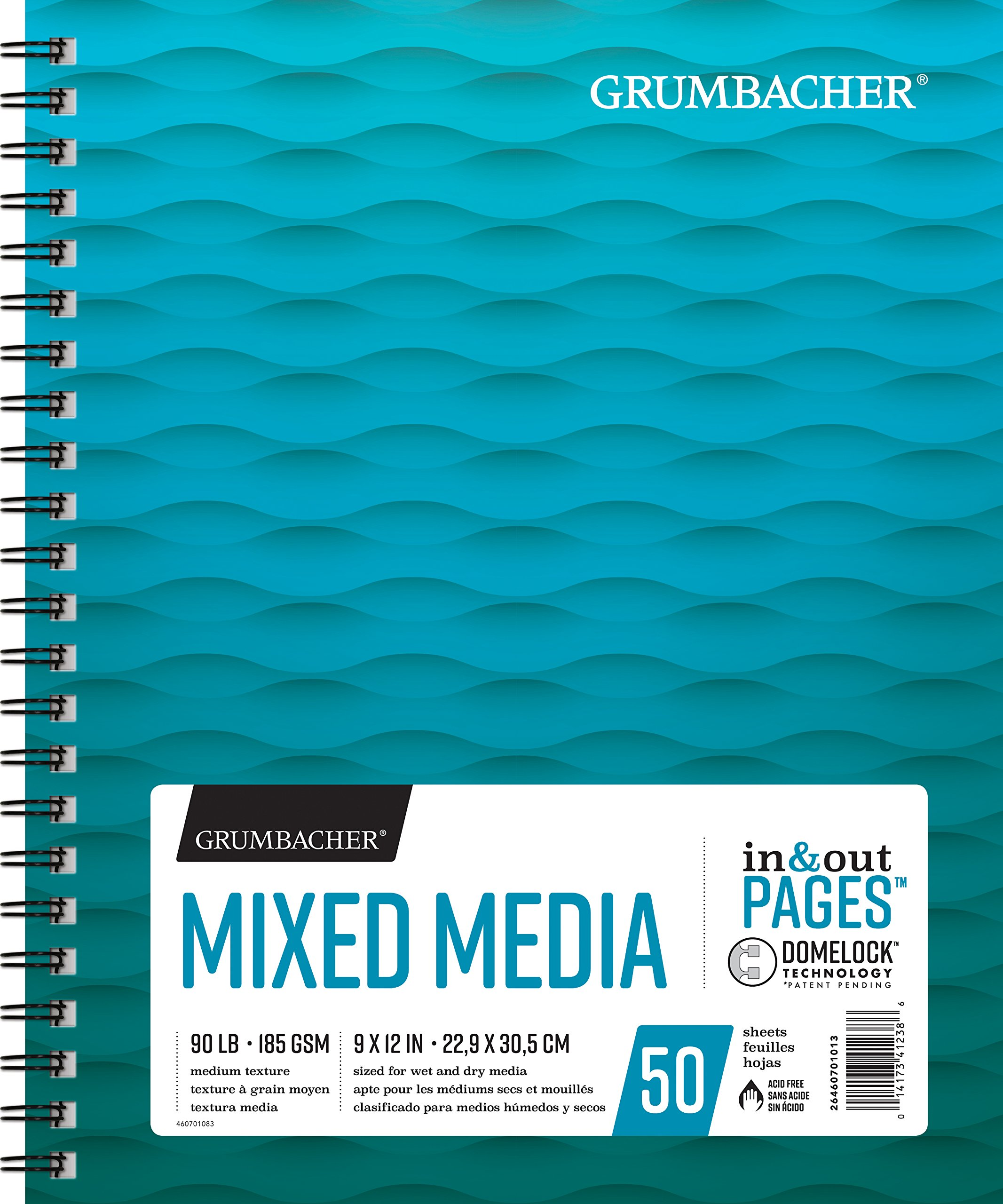 Grumbacher Mixed Media Paper Pad with In & Out Pages, 90 lb. / 185 GSM, 9 x 12 inches, Side Wired, 50 White Sheets/Pad, 1 Each, 26460701013 by GRUMBACHER
