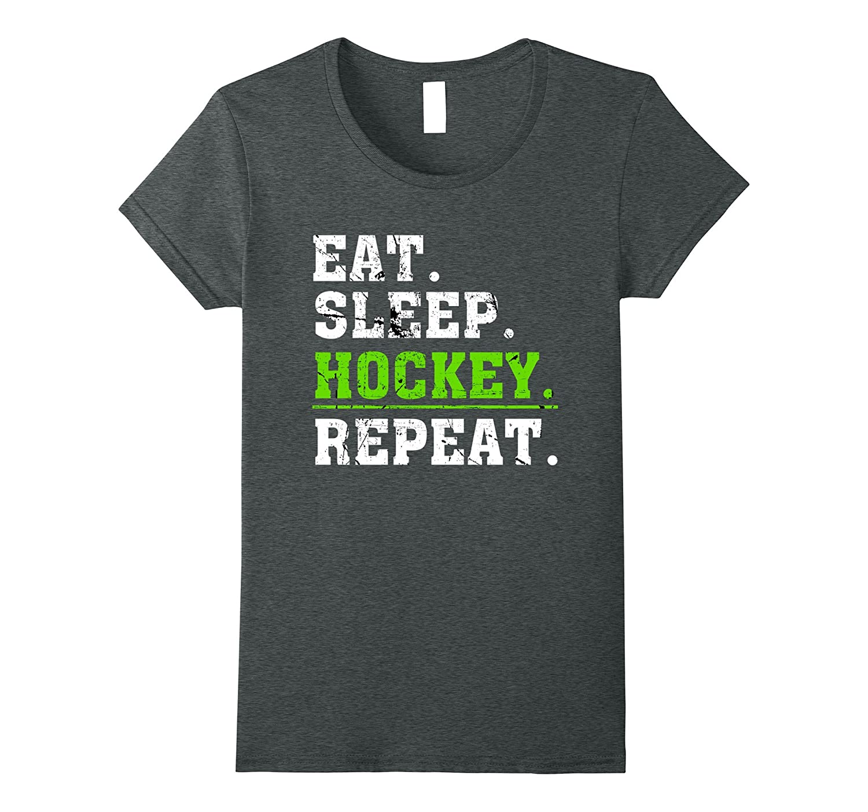 Sleep Hockey Repeat T Shirt Asphalt-Samdetee
